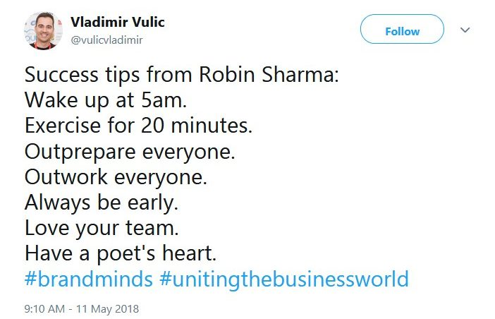 business tips from robin sharma on brand minds 2018